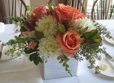 Dahlias, Cinnamon Roses, snapdragons, hydrangea, seeded eucalyptus. #AlisonBuckFloralDesign www.AlisonBuckFloralDesign.com