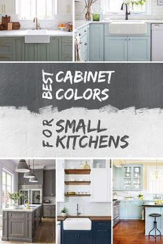 What are the best cabinet colors for a small kitchen? Here's the answer with example kitchen colors Best Kitchen Cabinet Colors for Small Kitchens (with Pictures) Small Kitchen Cabinets, Kitchen Cabinet Colors, Painting Kitchen Cabinets, Kitchen Paint, Kitchen Cabinet Makeovers, Best Kitchen Colors, Beautiful Kitchens, Cool Kitchens, Small Kitchens