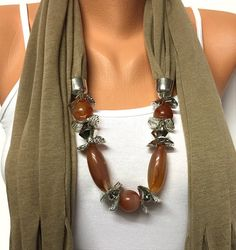 jewelry scarf with beads Christmas gift or for you by BienBijou