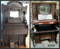 1898 Pump Organ converted to an awesome desk, and useful in today's world.  Gary found this old organ in an old beach home, and worked on using all the different parts to make a unique one of a kind desk.  See next picture for more close up views.