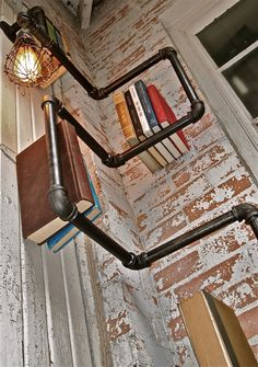 Industrial Pipe Corner Shelf with Pendant by stellableudesigns - perfect for adding storage and light to a corner wall area!