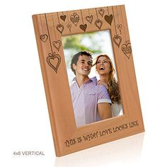 Kate Posh  Rain of Hearts  This is what Love looks like Wooden Picture Frame 4x6  Vertical * To view further for this item, visit the image link.
