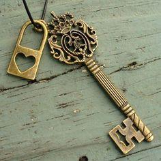Heart Lock & Elegant Crowned Key