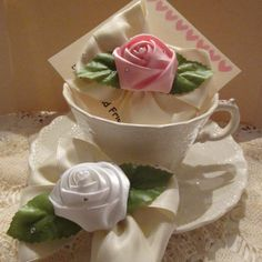 SALERibbon Roses and Ivory Satin Hair Clip by SootysDressUpFriends, $2.00