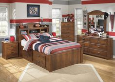 Cozi Furniture Barchan Full Bookcase Bed w/ Storage, Dresser & Mirror: This vintage casual set provides ample storage space to keep any boy's room in order, no matter how messy he is ;)