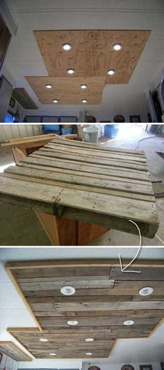 Lighting in a kitchen using wooden pallet boards.  Top 23 Cool DIY Kitchen Pallets Ideas You Should Not Miss