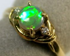 RICH GREEN FIRE BLACK OPAL 18K GOLD RING SIZE 5.5 SCA1255