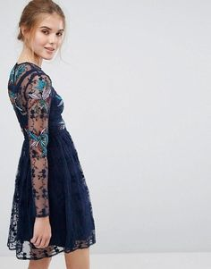 Frock and Frill ATLEY Floral Embroidered Skater Mini Dress Navy Embellished 6 8 Asos Online Shopping, Online Shopping Clothes, Frock And Frill, Mini Skater Dress, Latest Fashion Clothes, Frocks, Lace Trim, Lace Dress, Kimono Top