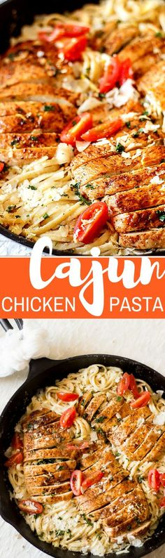 This 20-minute restaurant style spicy Cajun chicken pasta with Parmesan sauce is quick and easy. It's topped with shaved Parmesan cheese, lemon zest, fresh parsley and fresh grape tomatoes. So delicious and it tastes better than Chili's.