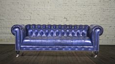 Chelsea Chesterfield leather tufted seat Echo Blue Marlin