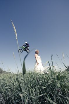 Neat angle - dirtbike wedding photo. Oh my goodness will have to have this!!!