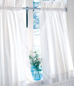 Cotton cafe curtains from Country Curtains for farmhouse windows.