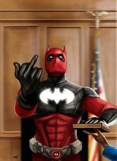 Batpool (Batman and Deadpool mashup) Marvel Comics Art, Marvel Comic Universe, Batman Universe, Marvel Vs, Marvel Heroes, Deadpool Wallpaper, Marvel Wallpaper, Red Batman, Deadpool Art