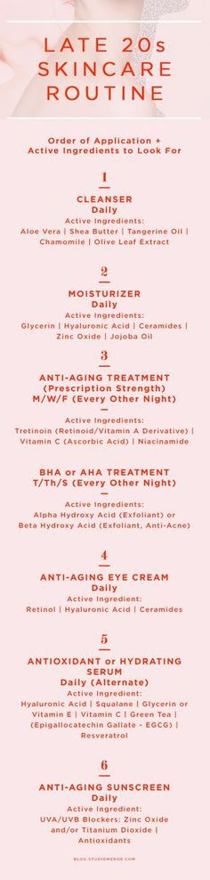 Late 20s skin care routine | Order of application + active ingredients to look for | skin care tips | anti-aging | Click through to read more + get my product recommendations! | @studiomeroe www.studiomeroe.com
