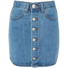 Button Front Denim Skirt by Glamorous Petites (37 PAB) ❤ liked on Polyvore featuring skirts, blue, blue skirt, blue denim skirt, high-waist skirt, knee length denim skirt and denim skirt
