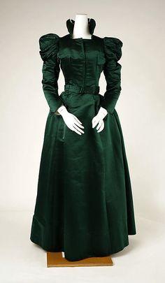 Emerald Green Visiting Dress, 1897-1900, Probably American, via Met Museum