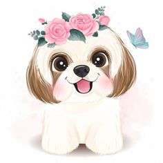 Illustration Blume, Cute Animal Illustration, Watercolor Illustration, Floral Watercolor, Watercolor Mermaid, Watercolor Painting, Shih Tzu, Baby Animal Drawings, Cute Drawings