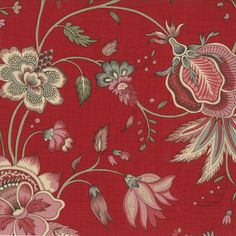 Moda Quilt Fabric - yard - La Belle Fleur - Rouge by French General by lavenderquiltsllc on Etsy French General Fabric, Gorgeous Fabrics, Sewing Notions, Muted Colors, Cotton Quilts, Red Background, Cottage Chic, Fabric Patterns, Altered Art