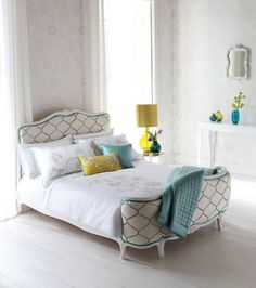 Bright yellow makes a vibrant accent colour. #interiordesign #bedrooms #colours