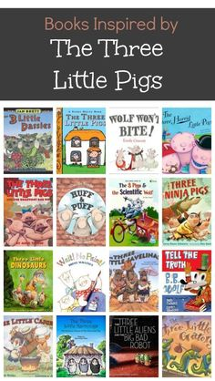 Kids' favorite versions of the Three Little Pigs books. Includes original story versions as well as fractured fairy tales. Preschool Books, Book Activities, Preschool Kindergarten, 3 Little Pigs Activities, Traditional Tales, Traditional Literature, Fractured Fairy Tales, Fairy Tales Unit, Three Little Pigs