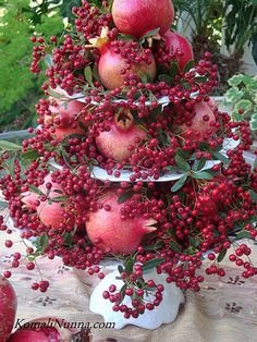 Pomegranite & pepper berries display -- would love to do with APPLES & Berries -- but this is pretty beautiful!