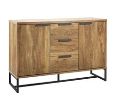 Buy Argos Home Nomad Large Sideboard - Oak Effect at Argos. Thousands of products for same day delivery or fast store collection. Kitchen Sideboard, Small Sideboard, Oak Sideboard, Cosy Room, Kitchen Corner, Industrial Chic, Argos, Adjustable Shelving, Living Room Furniture