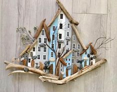 Handmade naturel wood, Wall hangings, accessory #SilverHomeAccessories Driftwood Wall Art, Driftwood Projects, House On The Rock, House In The Woods, Wooden Art, Wooden Crafts, Gold Home Accessories, Wood Block Crafts, House Ornaments