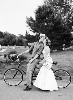 Black and white photo with black and white polka-dot wedding dress. Love!