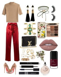 """""""Girls night 💕"""" by rahafmoteb on Polyvore featuring Helmut Lang, Theory, Christian Louboutin, Accessorize, Stila and Christian Dior"""