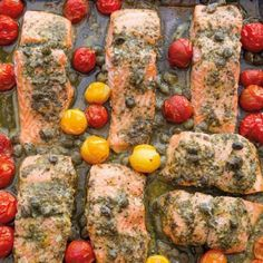 Salmon with pesto and cherry tomatoes from Annabel Langbein - recipe - okoko recipes Jamie Oliver, Meals For The Week, Fish And Seafood, Cherry Tomatoes, Healthy Cooking, Vegetable Pizza, Easy Meals, Food And Drink, Menu