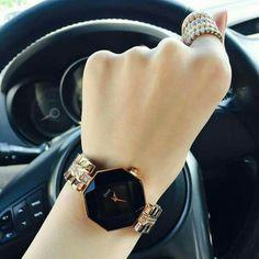 Dior Black Watch / Only Me xoxo - Dior Watch - Ideas of Dior Watch - Dior Black Watch / Only Me xoxo Fancy Watches, Cute Watches, Elegant Watches, Beautiful Watches, Luxury Watches, Silver Watches, Wrist Watches, Girl Watches, Stylish Watches For Girls