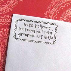 Letter-girl hand-lettered address stamp on Etsy