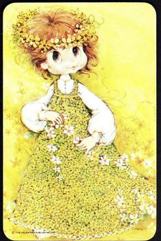 VINTAGE SWAP CARD -  GIRL WITH DAISYS