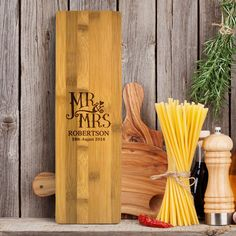 Personalised large bamboo kitchen board Expertly engraved Wipe clean only Measures approx W 39 8cm D 12 3cm H 1 5cm Personalise this Mr Mrs large