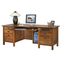 Cherry Oak Executive Desk - ANH-CMAD82 and other Office and Computer Desks