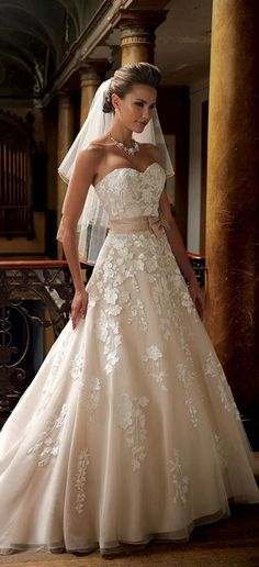 Amazing Wedding Dress  – Princess Style Light Rose Colour