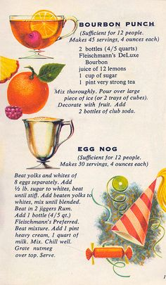 Two recipes for big party sized quantities of liquor laced drinks-Bourbon Punch for guests and egg nog! Party Drinks, Cocktail Drinks, Cocktail Recipes, Alcoholic Drinks, Beverages, Drinks Alcohol, Drink Bar, Retro Recipes, Old Recipes