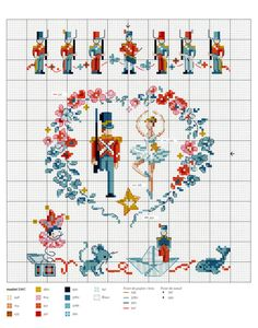 nice tin soldier(s) + ballerina in heart * Cross Stitch Fairy, Cross Stitch For Kids, Cross Stitch Books, Mini Cross Stitch, Cross Stitch Needles, Cross Stitch Heart, Cross Stitch Borders, Cross Stitch Designs, Cross Stitching