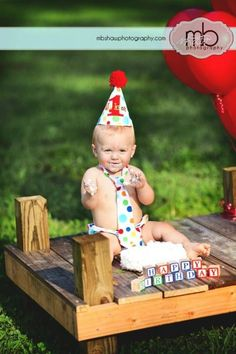 PERSONALIZED Baby Boy First Birthday Cake Smash Set with Hat, Tie and Diaper Cover from Sprinkles of Love  Lolli Dot Play. $43.00, via Etsy.