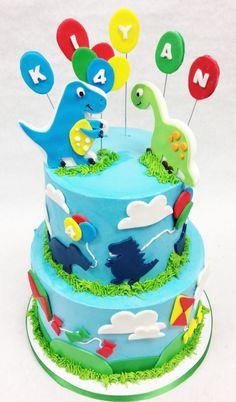 #Dinosaur #2tier #cake made fresh at #FlavorCupcakery #fondant #cake #birthday #kids #balloons