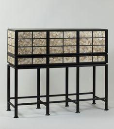 nicolas aubagnac / cabinet orion, ébène massif et marqueterie de parchemin
