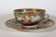 MULTI-COLOR ROSE MEDALION  PORCELAIN TEA CUP AND SAUCER 1900-1940 China
