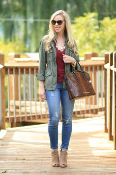 Indian Summer: J. Crew olive field jacket, anorak, olive and burgundy, gold statement necklace, Paige verdugo ankle jeans, destructed denim, cuffed jeans with booties, suede peep toe boots, Brahmin snakeskin print Duxbury
