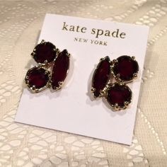 "kate spade earrings. Price Firm. kate spade-3 deep red beautifully faceted stones set in 14k gold fill. Pierced. Approx 1"" length. kate spade Jewelry Earrings"