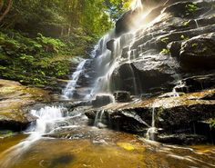 WpNature.com - Waterfall Trees Nature Sun Woods Accumulation Water Valley Vegetation Rocks Waters Hd Images