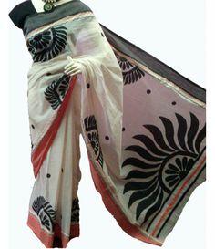 Off-White and Black Handpainted Kerala Cotton Saree