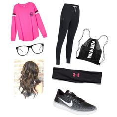 school :)) by kidrxuhll on Polyvore featuring Under Armour, NIKE and Armani Exchange