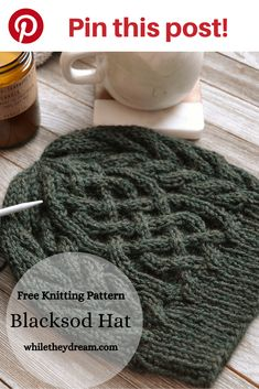 """The Blacksod Hat has been called an """"instant classic."""" You will find yourself immersed in a relaxing cable knit stitch hat pattern that both men and women will wear and enjoy for years to come. Cable Knitting Patterns, Free Knitting, Free Knitted Hat Patterns, Knit Hat For Men, How To Knit A Hat, Knitted Hats, Crochet Hats, Cable Knit Hat, Knit Beanie Hat"""