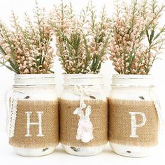 Hop Mason Jar Set Spring Mason Jars Easter Bunny Country Farmhouse Shabby Chic Mantle Center