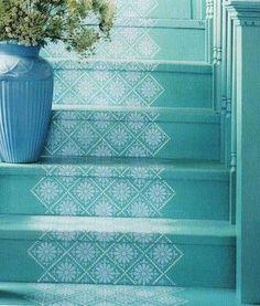 escalier peint 16 ides peinture escalier bricobistro - Cuisine Mur Bleu Turquoise